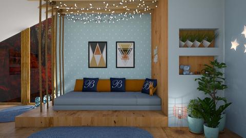 Orange blue - Bedroom - by jarkaD