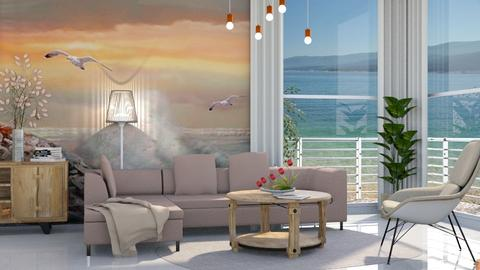 M_Modern beach house - Living room - by milyca8