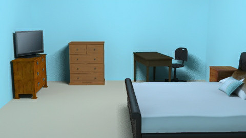 Blue and brown bedroom - Bedroom - by kittycatluver13