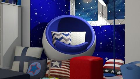 BLUE - Retro - Bedroom - by Kathran