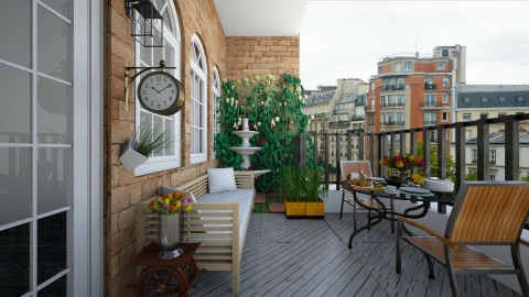 Balcony with Corner of Small Rose Garden - by ayudewi382