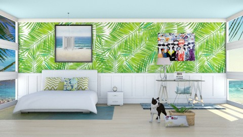 Tropical Leaf Room - Modern - Bedroom - by bgref