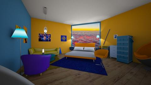 orange and blue - Bedroom - by shantebobante