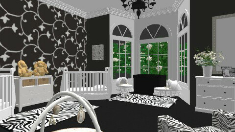 Black & White Twin Nursery - Feminine - Kids room - by egrimsley