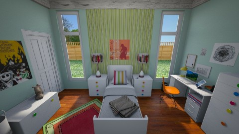 Art and Stripes - Bedroom - by June Thomas