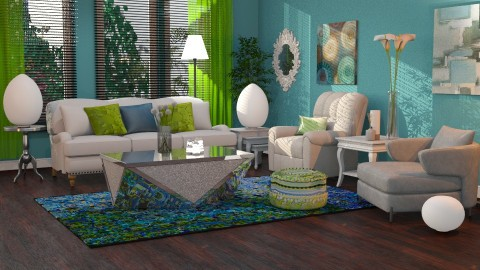 blue green splash - Modern - Living room - by anchajaya