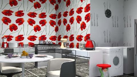 red&black kitchen - Retro - Kitchen - by SarahLou