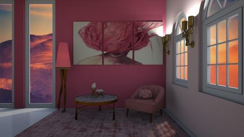 pink - Living room - by belle alderton