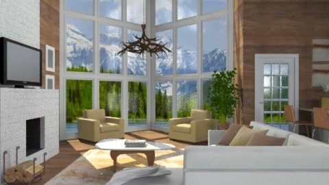 Lodge Living - Rustic - Living room - by channing4