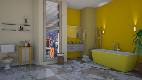 yellow bathroom - Modern - Bathroom - by tervezoke