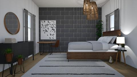 grey bricks - Bedroom - by Too