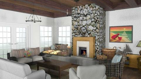 Lakeside Cottage - Living Room1 - Rustic - Living room - by LizyD