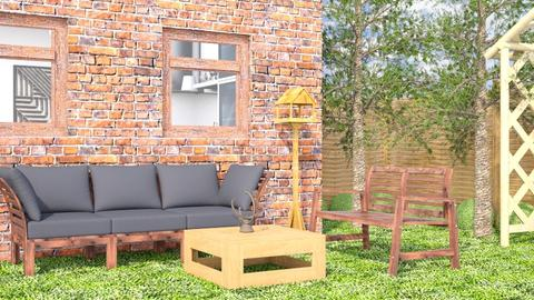 Red Brick Wall - Rustic - Garden - by millerfam