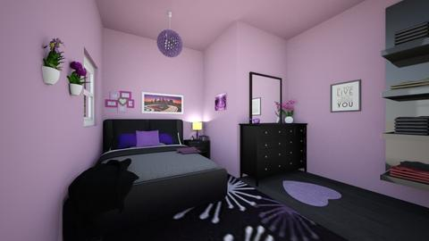 purpleish bedroom - Bedroom - by SpicyMcPie