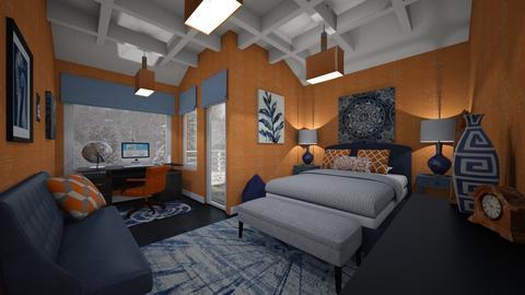 Orange and Blue bedroom - Bedroom - by PenAndPaper