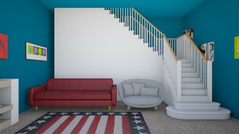 American Pop culture - Retro - Living room - by indiannaerickson