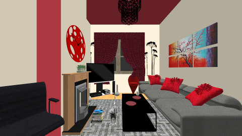 Red and Black - Living room - by zohaa101