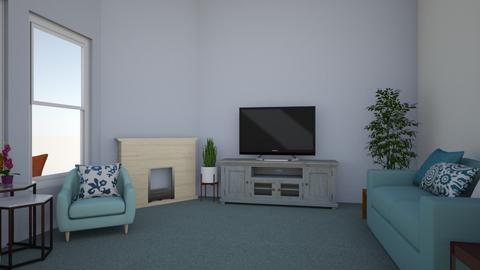 Blue and white - Modern - Living room - by jessetobu