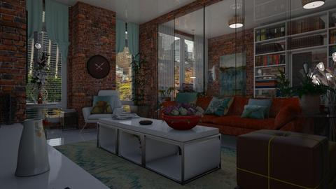 Glass and Brick - Living room - by Maria Helena_215