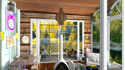 LOG Cabin - Living room - by annasashan610