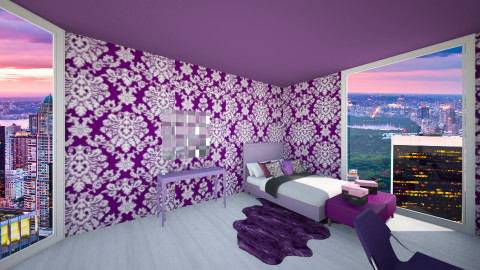 purple bedroom 3 - Bedroom - by Denitza Marinova