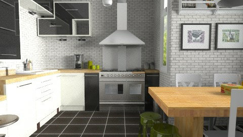Brick walls - Modern - Kitchen - by Tuija