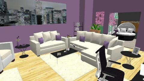purple black n white - Modern - Living room - by clo_bug12