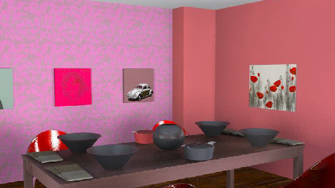 Red Dinning Room - Dining Room - by calvinxxx