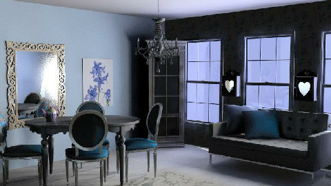 blue and white  - Dining Room - by beanybop