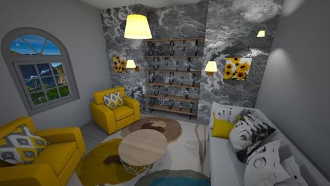 yello and grey - Living room - by cdenton041793