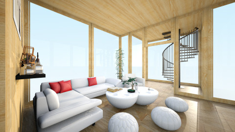 Wood and white - Modern - Living room - by saraaat
