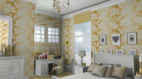 Gold and white - Rustic - Bedroom - by milyca8