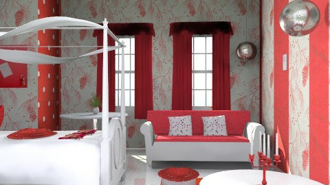 red - Retro - Bedroom - by asifgoldpk