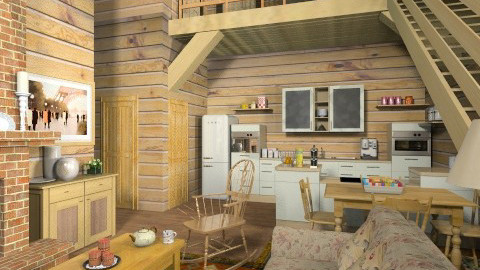 Quebec Log House - Rustic - Living room - by Bibiche