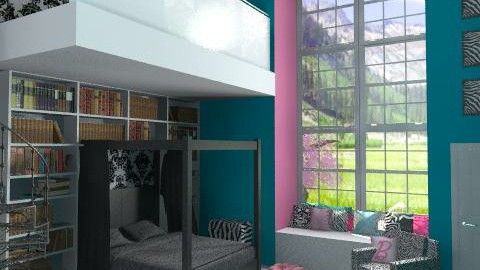 pink and teal bedroom - Glamour - Bedroom - by lysha