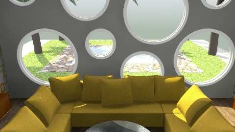 Chilin' Yellow 1 - Retro - Living room - by juhaszrena
