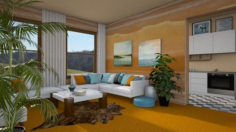 Orange Carpet - Living room - by amyskouson