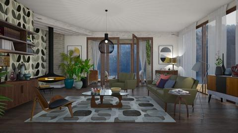Mid Century  - Rustic - Living room - by janip