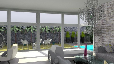 grey stone living room - Rustic - Living room - by Paulina Triantafyllou