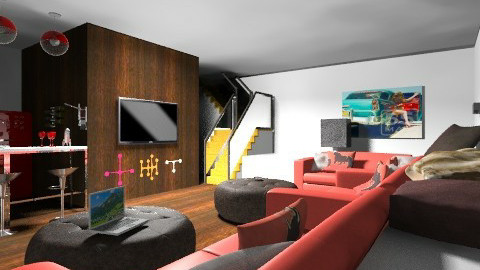 Mans Cave - Living room - by Charlotte10