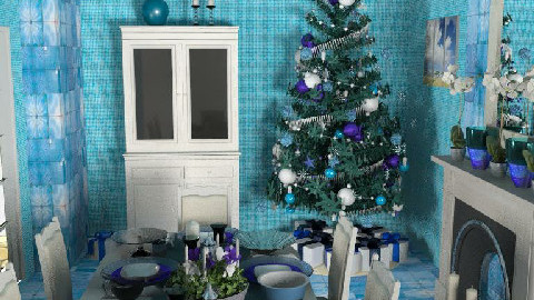 Blue Christmas Dinner - Dining Room - by SylviaAst