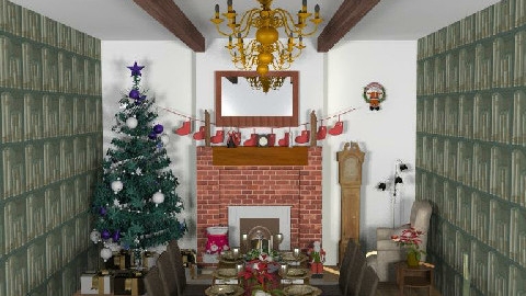Christmas in the library - Dining Room - by Lisa R