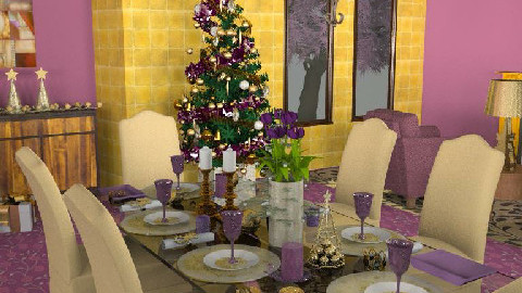 Purple & Gold Christmas - Dining Room - by SylviaAst