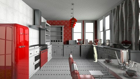 Red Kitchen - Modern - Kitchen - by bia_freitas