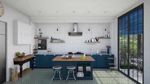 Navy Bistro Style Kitchen - Modern - Kitchen - by Ryan_22_