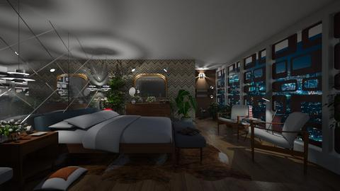 City Night Lights View - Retro - Bedroom - by LuzMa HL