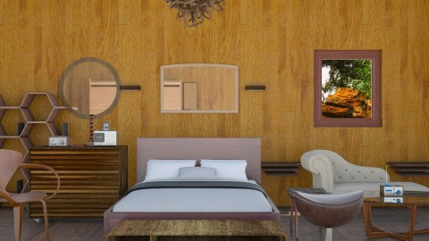 Walnut Bedroom  - Rustic - Bedroom - by InteriorDesigner111