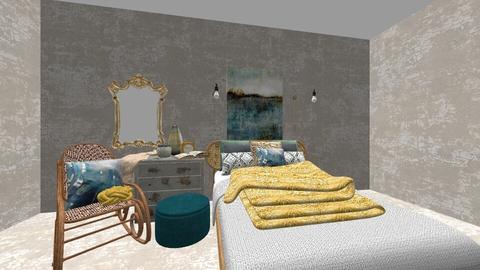 turquoise bedroom - Bedroom - by georgiarafferty14