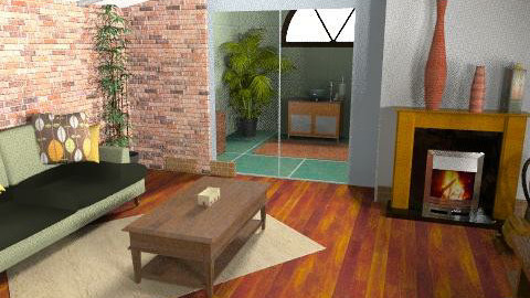 brick stairs - Living room - by repelikeva