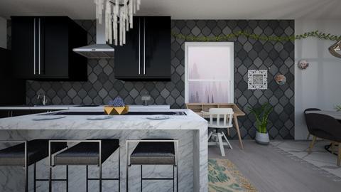 Black_White - Kitchen - by Snowy Tiger